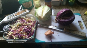 Preparing asian slaw